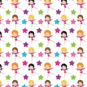 Star Gymnasts fabric / cute girl gymnast fabric