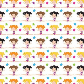 Jumping Gymnasts / cute girl gymnastics fabric