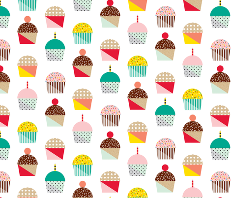 Memphis Cupcakes fabric by penny_eversole on Spoonflower - custom fabric