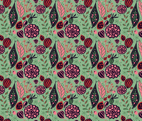 green seed pods fabric by sarahparr on Spoonflower - custom fabric