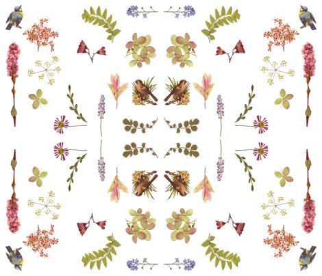 dainty flowers w birds fabric by mypetalpress on Spoonflower - custom fabric