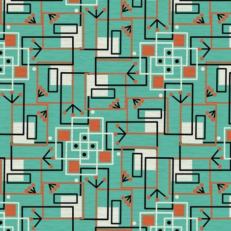 Mid Century Modern Inspired Martian Observers fabric by eclectic_house on Spoonflower - custom fabric