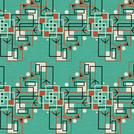 Mid Century Modern Inspired Martian Observers Chevron fabric by eclectic_house on Spoonflower - custom fabric