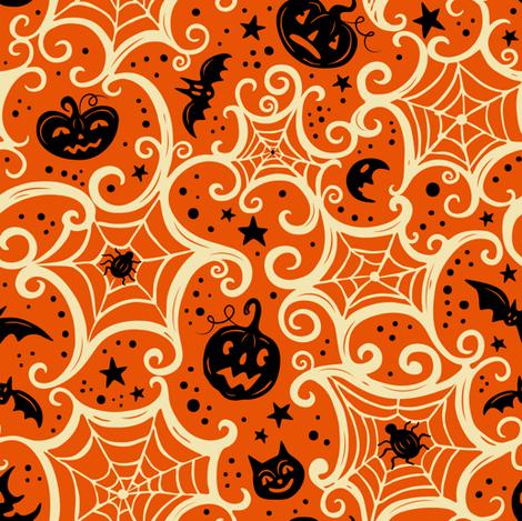 Spooky_Cobwebs_Cream_on_Orange fabric by johannaparkerdesign on Spoonflower - custom fabric