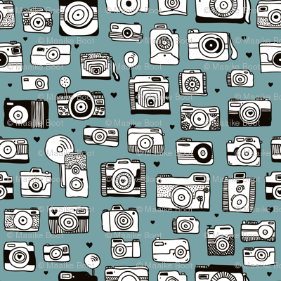 Vintage camera memories cool retro toy camera photography design gender neutral blue XS