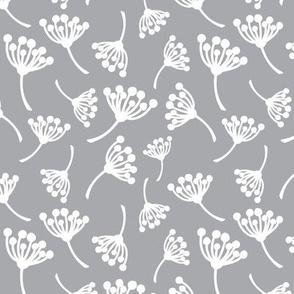 White dandelion flowers on grey background