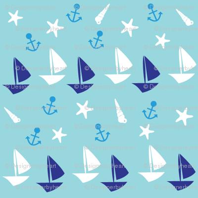 Boats small // blue white trendy kids nursery baby boy sea deep ocean sail starfish nautical marine