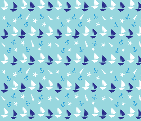 Boats large // blue white trendy kids nursery baby boy sea deep ocean sail starfish nautical marine  fabric by designerbyheart on Spoonflower - custom fabric