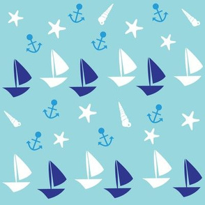 Boats large // blue white trendy kids nursery baby boy sea deep ocean sail starfish nautical marine