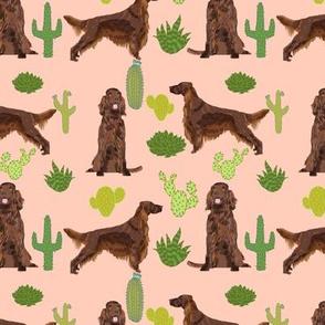 Irish Setter cactus desert southwest pet dog fabric peach