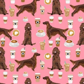 Irish Setter coffee cafe pet dog fabric pink