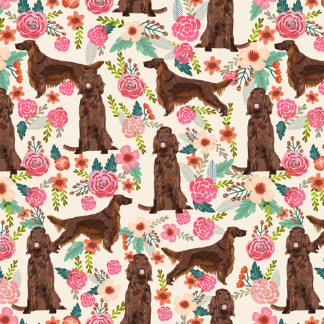 Irish Setter floral flowers pet dog fabric cream fabric by petfriendly on Spoonflower - custom fabric
