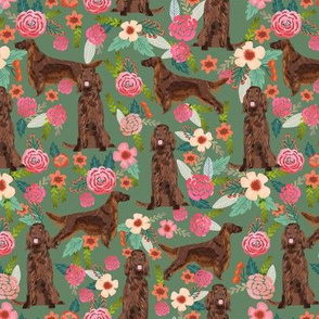 Irish Setter floral flowers pet dog fabric med green