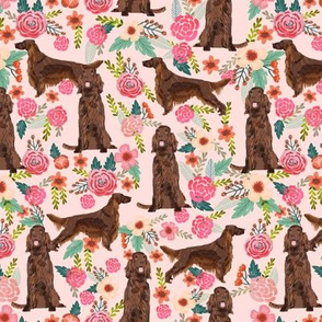 Irish Setter floral flowers pet dog fabric pink