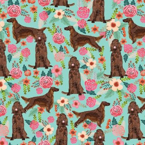 Irish Setter floral flowers pet dog fabric teal