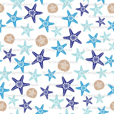 Starfish and sand dollars large //  blue beige trendy kids nursery baby boy sea deep ocean