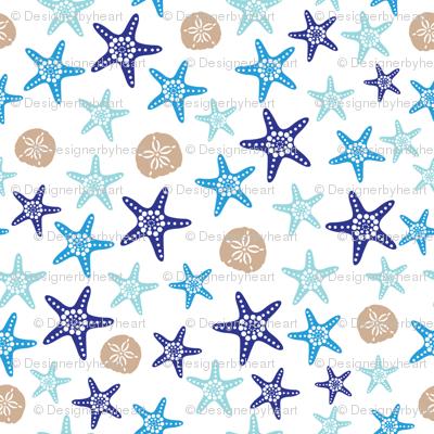 Starfish and sand dollars large //  blue beige trendy kids nursery baby boy sea deep ocean
