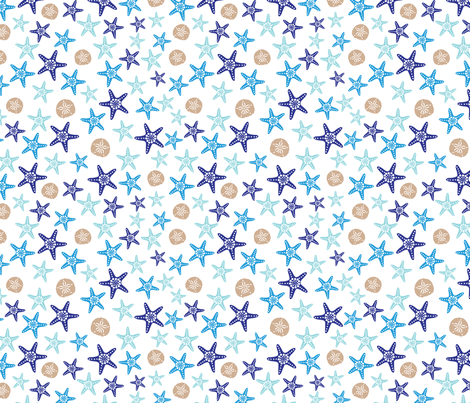 Starfish and sand dollars large //  blue beige trendy kids nursery baby boy sea deep ocean fabric by designerbyheart on Spoonflower - custom fabric