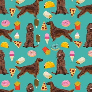 Irish Setter junk food pizza french fries dog fabric turquoise