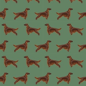Irish Setter dog breed fabric pattern med green