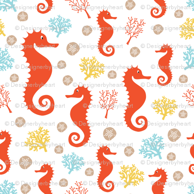 Seahorses and corals large // orange yellow blue trendy kids nursery baby boy sea deep ocean corals sand dollars
