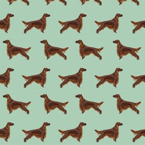 Irish Setter dog breed fabric pattern mint