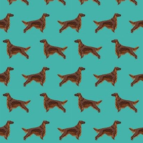 Irish Setter dog breed fabric pattern turquoise
