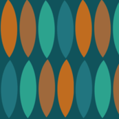 Mod Leaves-orange and teal