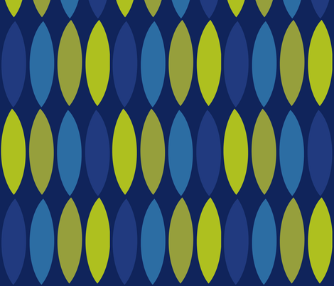 Mod leaves-cobalt blue olive fabric by wren_leyland on Spoonflower - custom fabric