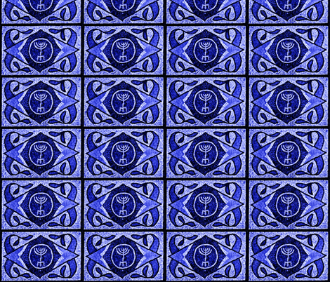 Navy Menorah Tile- Larger  scale fabric by winterblossom on Spoonflower - custom fabric