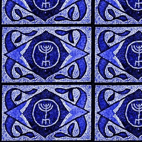 Navy Menorah Tile- Larger scale