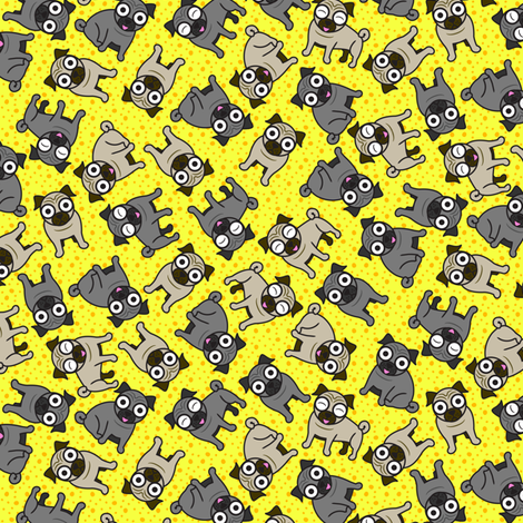 Pug-a-Dot (Small Yellow) fabric by robyriker on Spoonflower - custom fabric