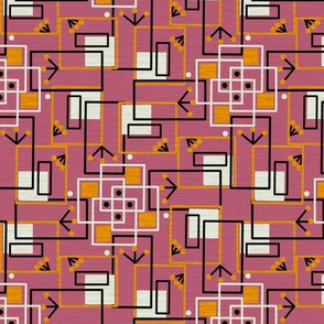 Mid Century Modern Inspired Martian Observers Dusty Rose with Orange