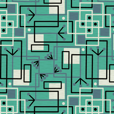 Mid Century Modern Inspired Martian Observers 2 Turquoise and Blue fabric by eclectic_house on Spoonflower - custom fabric