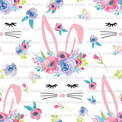 Pink Bunny Face Easter Floral 3.5 inch bunny