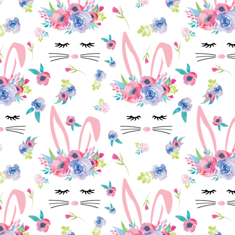 Pink Bunny Face Easter Floral 3.5 inch bunny fabric by twodreamsshop on Spoonflower - custom fabric