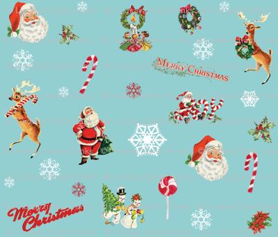 Vintage Christmas Santa Claus Merry Christmas Reindeer Snowflakes Joy