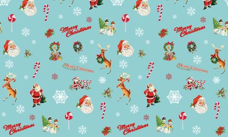 Vintage Christmas Santa Claus Merry Christmas Reindeer Snowflakes Joy fabric by twodreamsshop on Spoonflower - custom fabric