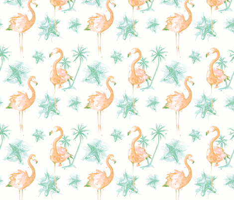 Beach Flamingos - Faded fabric by sam_nagel on Spoonflower - custom fabric