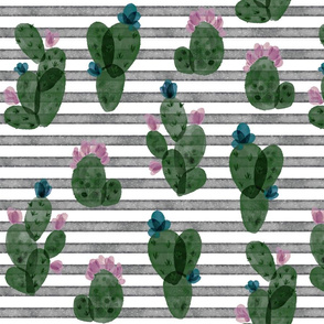 pine autumn cactus // on salted watercolor stripes 179-13