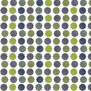Stormy Green & Blue Dots