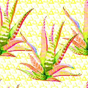 """8"""" Pink Cactus Crazy Yellow Triangles"""