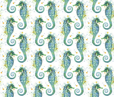 Seahorse - Green fabric by sam_nagel on Spoonflower - custom fabric