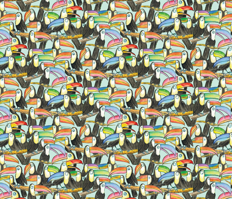Toucan Party Aqua small fabric by laurafisk on Spoonflower - custom fabric