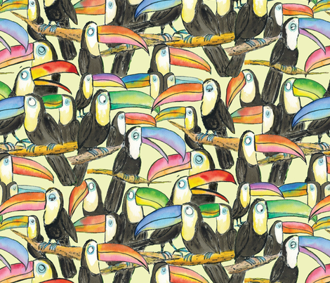 Large Toucan Party Yellow fabric by laurafisk on Spoonflower - custom fabric