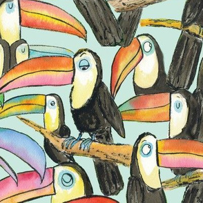 Large Toucan Party Aqua