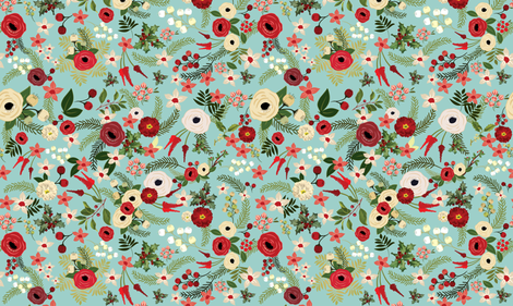 Vintage Christmas Floral Blue fabric by twodreamsshop on Spoonflower - custom fabric