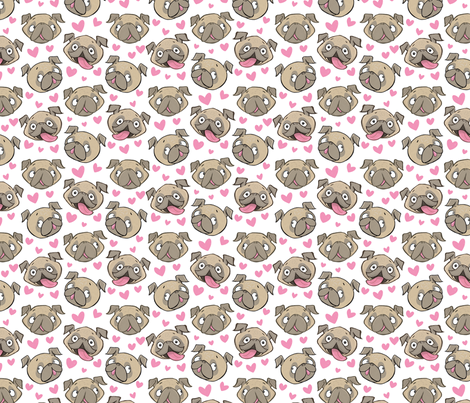 Small Fawn Pugs and Hearts white fabric by laurafisk on Spoonflower - custom fabric