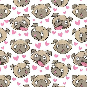 Small Fawn Pugs and Hearts white