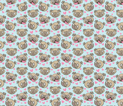 Small Fawn Pugs and Hearts blue fabric by laurafisk on Spoonflower - custom fabric